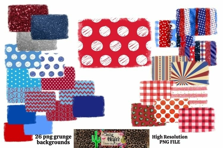 Patriotic July 4th Grunge Backgrounds for Dye Sublimation example image 1