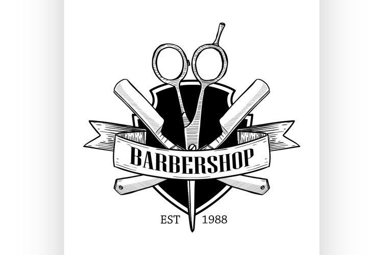 Barbershop logo with big scissors example image 1