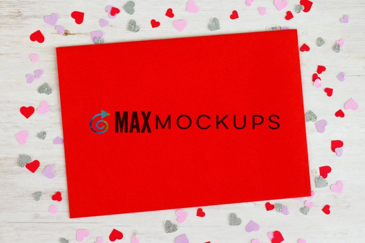Red Envelope Mockup, Valentines hearts, stickers or stamps