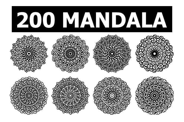 Mandala set for coloring book PNG Vector and cricut SVG example image 1