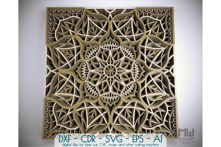 M118 - Flower Mandala DXF file, Multilayer Mandala Pattern
