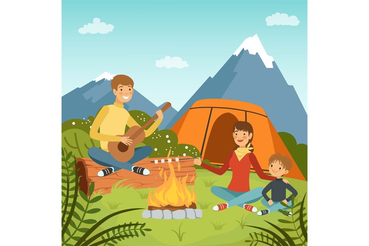Family camping in the wood near big mountains. Nature vector example image 1