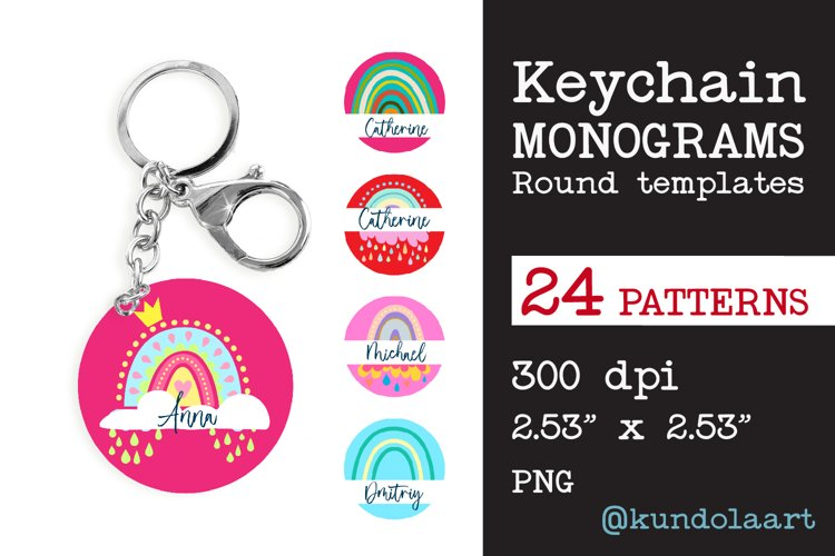Monograms Keychain Sublimation Rainbow Design, Key ring