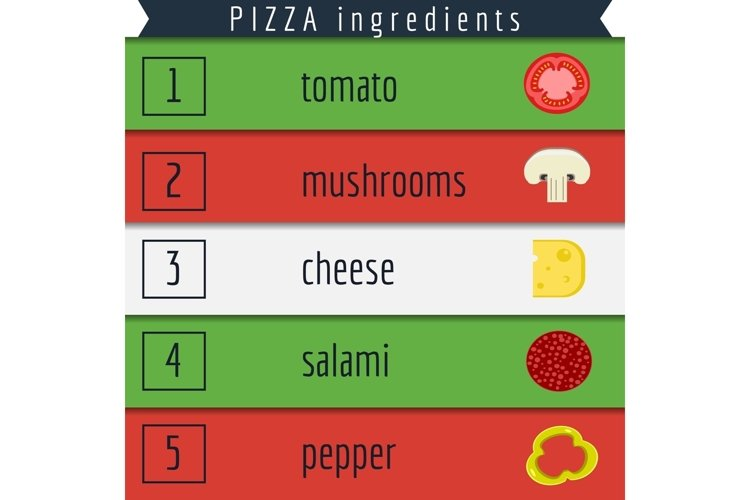 Pizza and Ingredients Illustration example 1