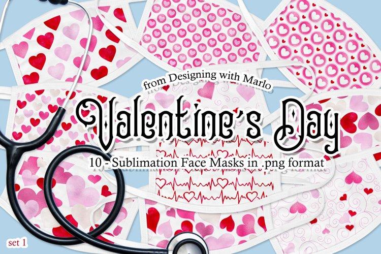 Valentines Day Face Mask Designs - set 1, Sublimation PNG