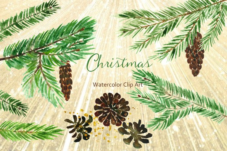 Winter Christmas Watercolor Clipart example image 1