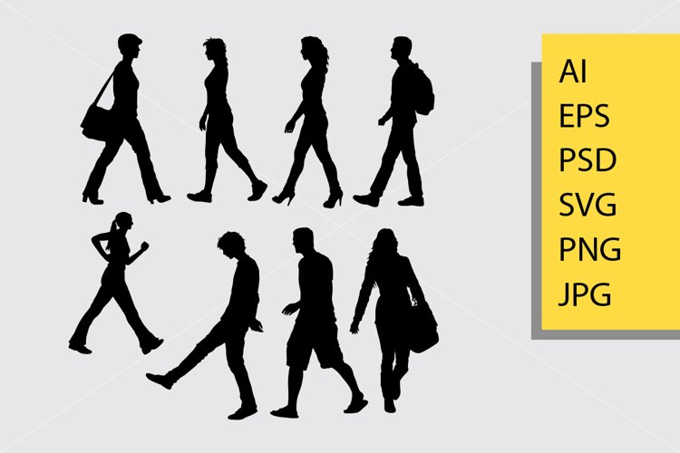 Walking vector silhouette example image 1