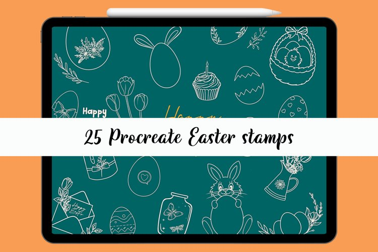 Easter Procreate stamp brushes, egg stamps, Easter bunny