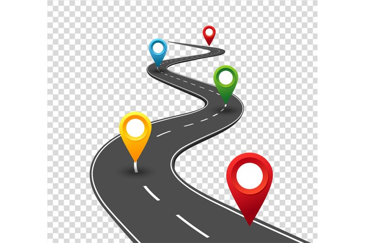 Road infographics. Winding road to success with pin pointers example image 1