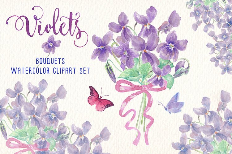 violets flowers watercolor clip art set example image 1