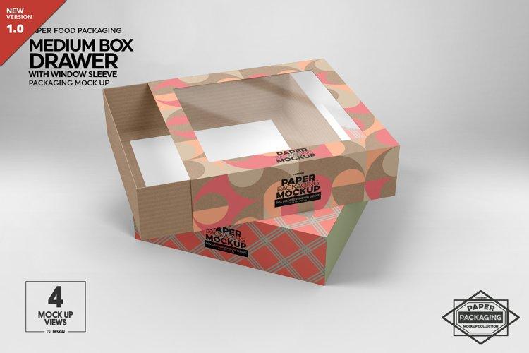 Medium Box Drawer with Window Sleeve Packaging Mockup