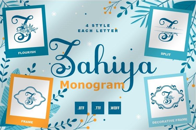 Zahiya Monogram Font - 4 Style Monogram example image 1