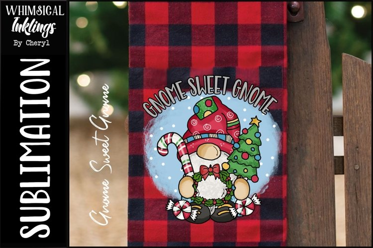 Gnome Sweet Gnome-Christmas Sublimation Clipart example image 1