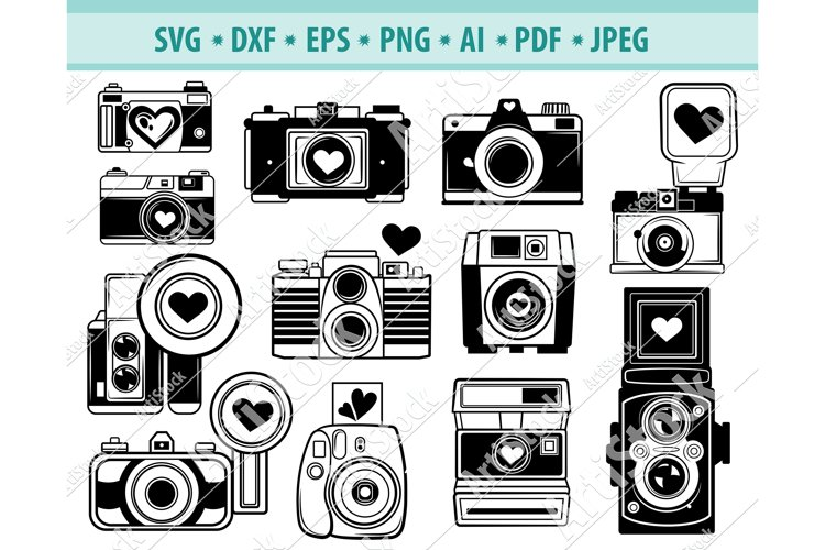 Camera svg, Retro Camera with Heart SVG, Love Dxf, Png, Eps