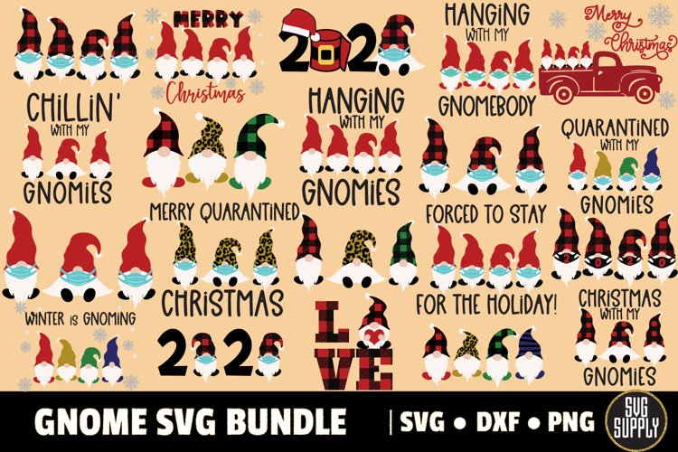 2020 Christmas Gnome Big Bundle SVG Cut File