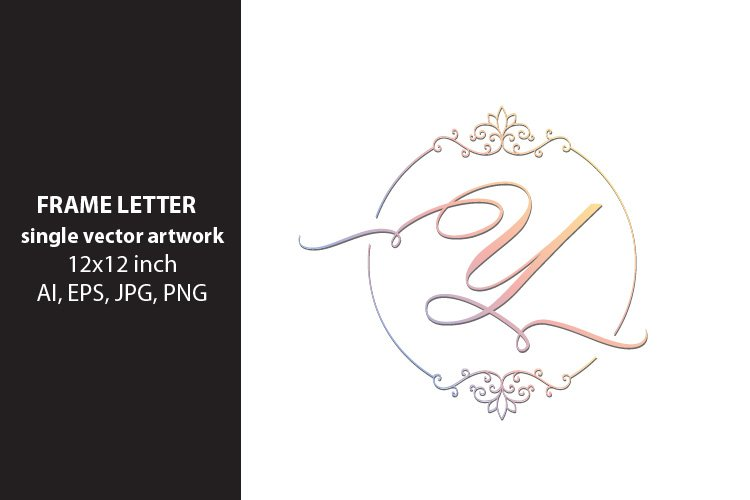 letter y inside ornate frame - single vector artwork example image 1