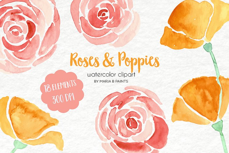 Watercolor Clip Art - Roses, Poppies example image 1