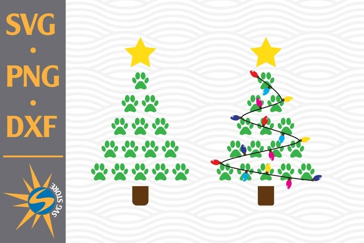 Paw Christmas Tree SVG, PNG, DXF Digital Files example image 1