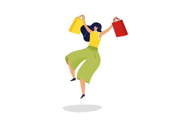 Jumping woman. Happy excited woman with shopping bags in sup example image 1