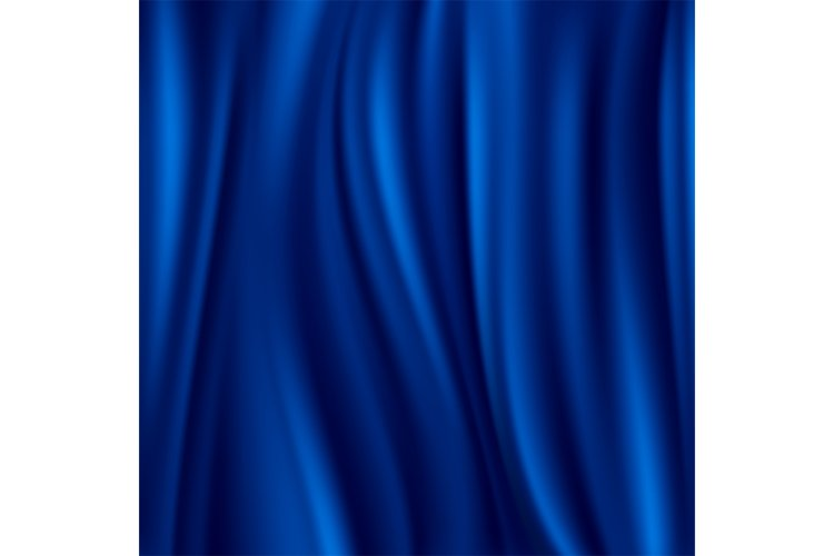 Blue silk, satin material wavy luxury vector background example image 1