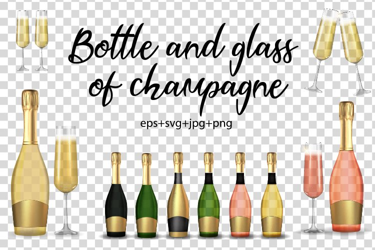 Realistic 3D champagne Bottle and glass