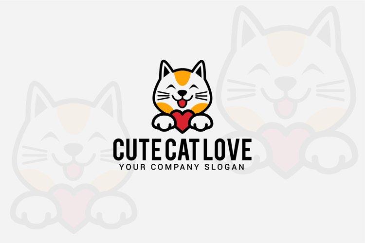 cute cat love logo