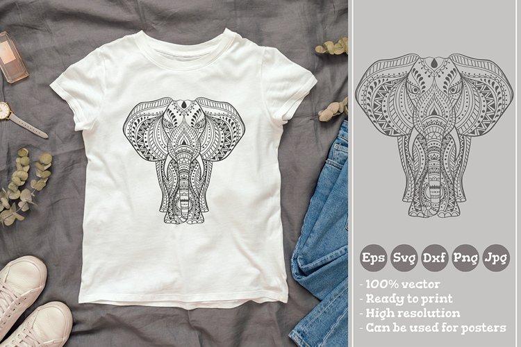Ethnic Indian Elephant T-shirt Illustration SVG File example image 1