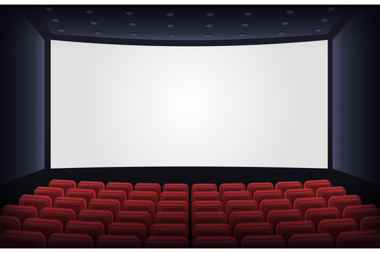 Empty cinema theatre. Film presentation scene with red chair example image 1