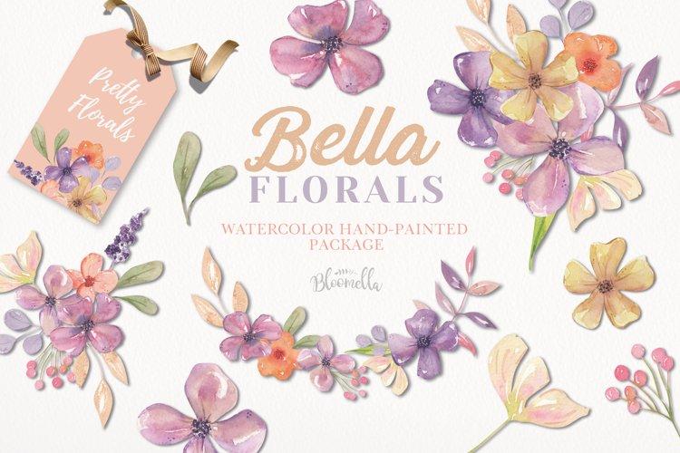 Bella Florals Watercolor Clipart Wreaths Bouquets Purple