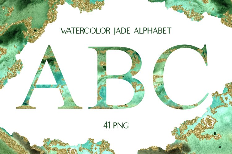 Sublimation Watercolor Jade Alphabet with Glitter