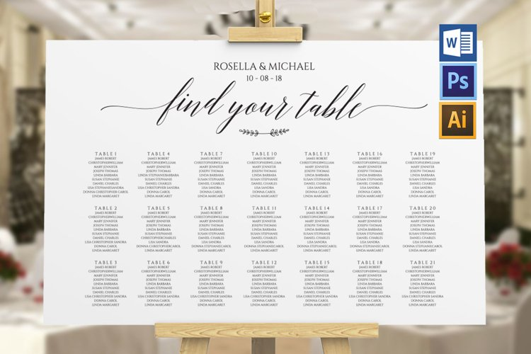 wedding seating chart sign landscape, TOS_7