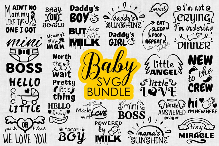 Baby SVG Bundle, Baby Onesie Funny Quote SVG cut files example image 1