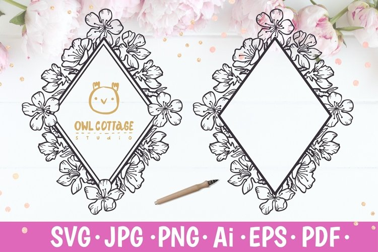 Cherry Blossom Diamond Monogram svg, Wedding Flowers SVG