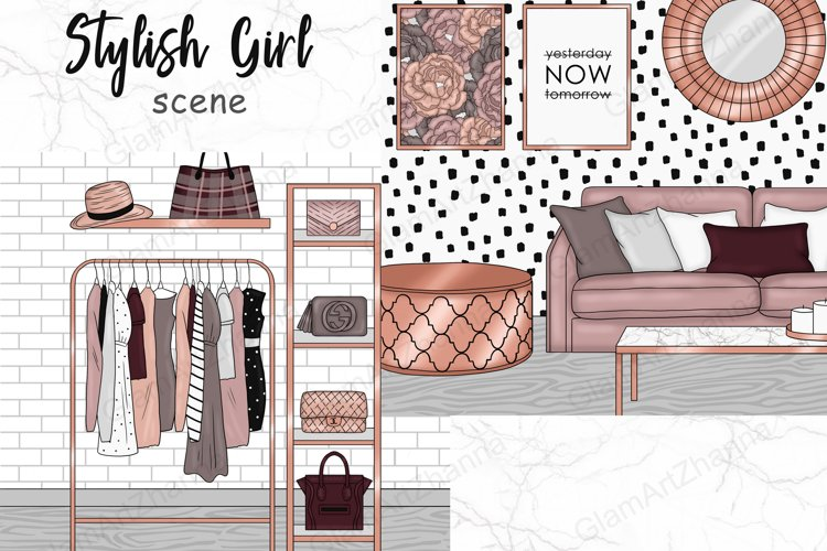 Stylish Girl SCENE Home Office Work Lady Boss - PNG files example image 1