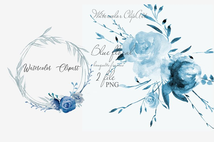 Blue Watercolor Wreath floral clipart
