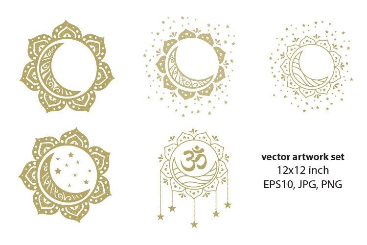 golden sun and moon - VECTOR ARTWORK SET