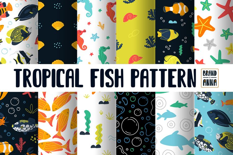Tropical fish vector pattern pack
