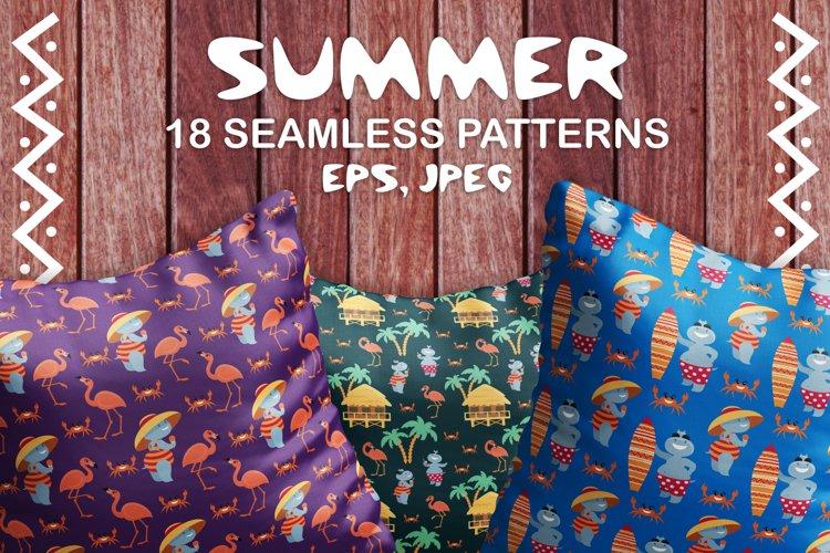 Summer. Hippopotamuses and flamingo. Seamless patterns.