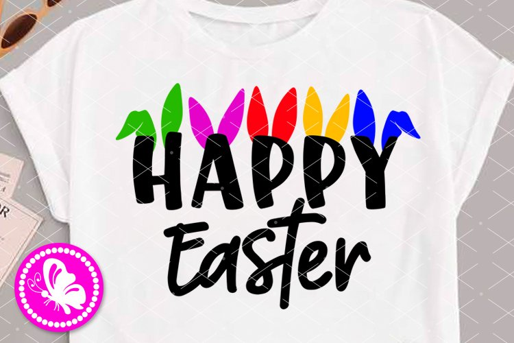 Happy Easter svg Bunny ears clip art Cricut Png Silhouette example image 1