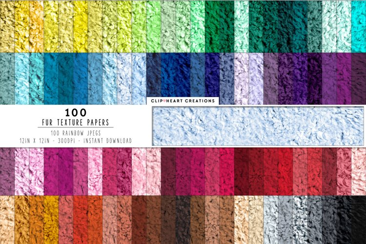 100 Fur Digital Papers in Rainbow Colors example image 1