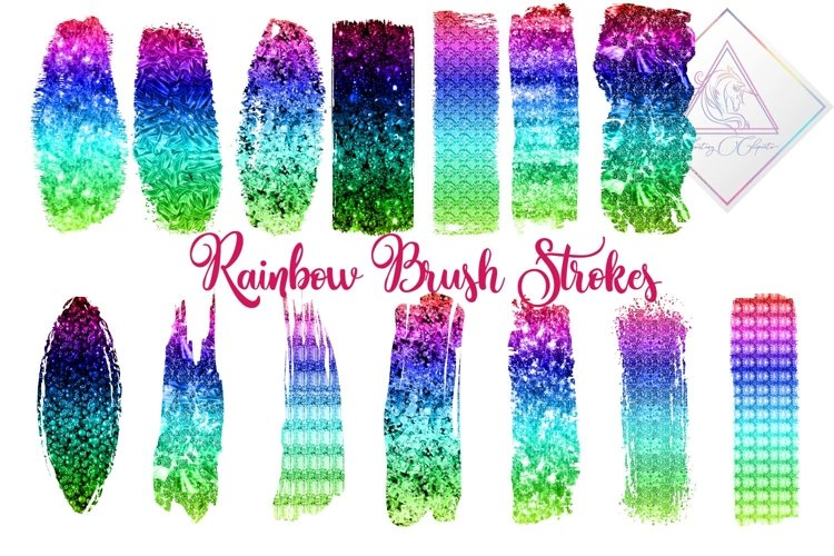 Ombre Rainbow Brush Strokes Clipart example image 1