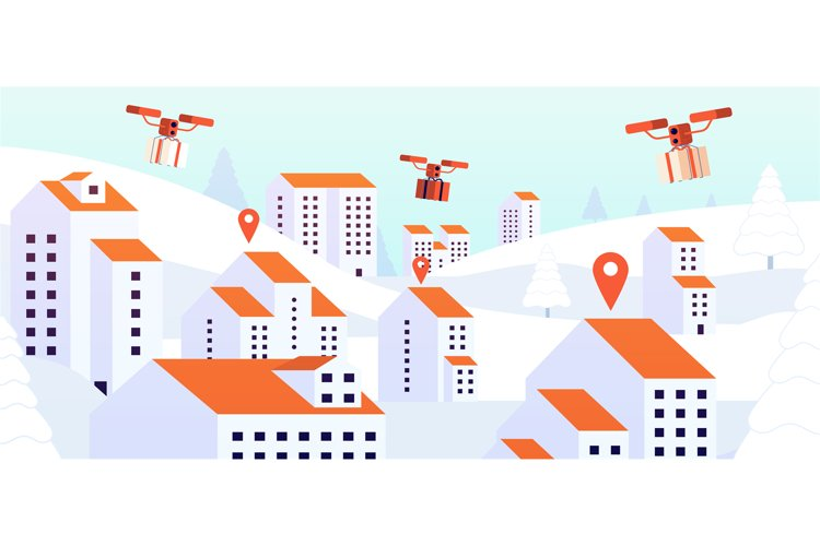 Christmas gift drone delivery. Contactless presents service,