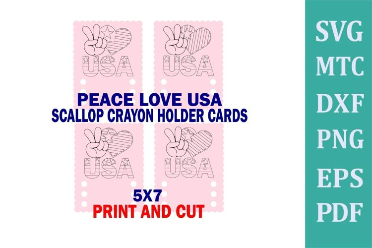 Crayon Holder SCALLOP 3 Crayons Peace Love USA Coloring Card