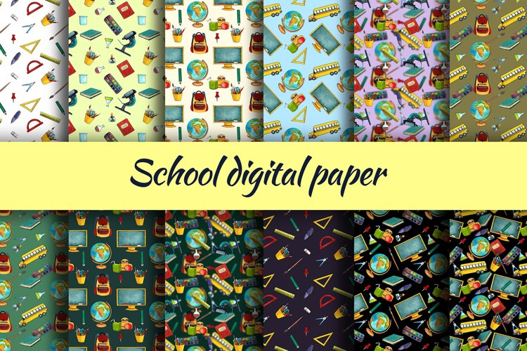 School digital paper. watercolor clipart example image 1