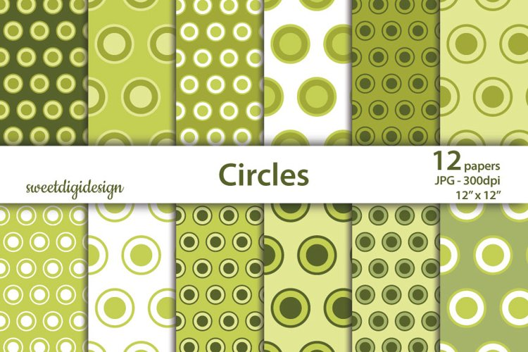Green circles digital paper, polka dots scrapbook paper example image 1