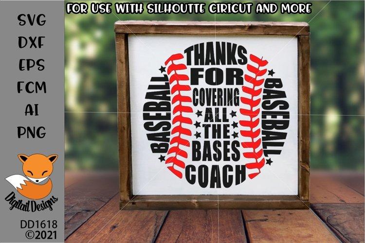 Baseball Coach Thank you SVG - Silhouette - Cricut example image 1