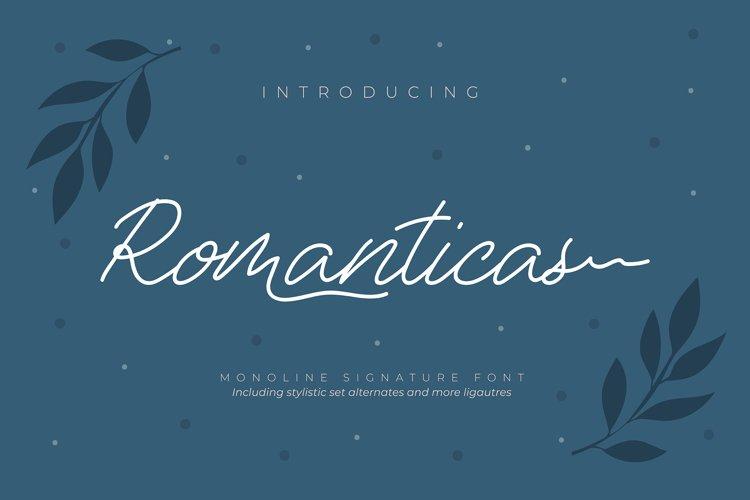 Romanticas | Monoline Signature Font example image 1