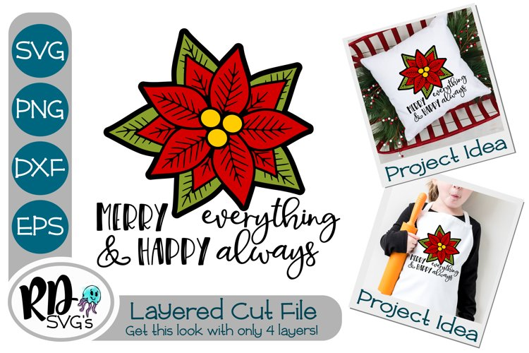 Merry Everything Poinsettia - A Christmas Layered Cricut SVG example image 1