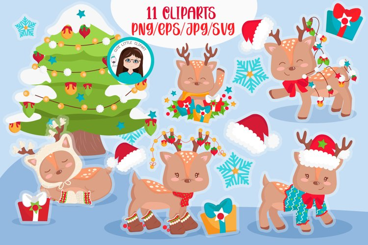 Christmas deers cliparts