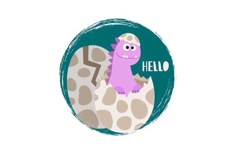 Newborn baby girl dinosaur vector banner flat